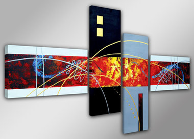 Abstract 'Karen' - Canvas Schilderij Vierluik 160 x 70 cm
