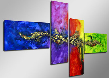 Abstract 'Mignon' - Canvas Schilderij Vierluik 160 x 70 cm