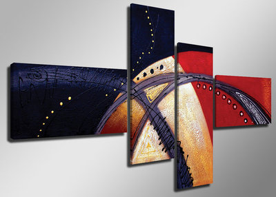 Abstract 'Yvo' - Canvas Schilderij Vierluik 160 x 70 cm
