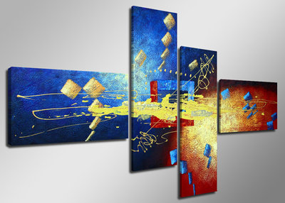 Abstract 'Mariella' - Canvas Schilderij Vierluik 160 x 70 cm