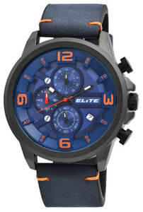 Elite herenhorloge (ø 49 mm) met blauwe kunstleren band